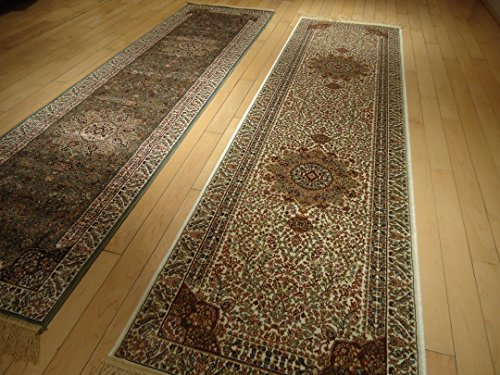 Silk White Rugs Persian Tabriz Rugs 2x8 Area Rugs for Hallway 2x7 Long Narrow Rug Ivory Cream Carpet Area Rugs Runner Rugs Traditional 2x7 Luxury Kitchen Rugs Kenareh Runner (2'x8' Hallway Runner)