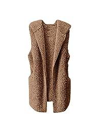 Liraly Womens Coats and Jackets Fashion Vest Winter Warm Hoodie Outwear Casual Coat Faux Fur Zip Up Sherpa Jacket