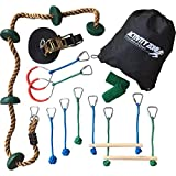 Activity Zone Ninja Line with Climbing Rope Outdoor Obstacle Course (40') - Ninja Warrior Gym with Loop Handles, Knot Ropes, Monkey Bars and Tree Pads - Easy to Setup, Safe & Secure - Premium Quality