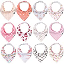 Baby Bandana Drool Bibs for Boys and Girls,Super Soft Unisex 12 Pack Absorbent Cotton Organic Bib Set,Baby Shower Gift Set for Teething and Drooling