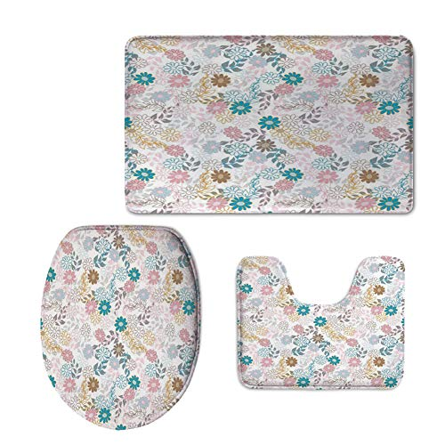 Spring Color Palette - Fashion 3D Baseball Printed,Floral,Cute Pastel Daisies and Leaves Blooming Retro Style Foliage Spring Color Palette Decorative,Multicolor,U-Shaped Toilet Mat+Area Rug+Toilet Lid Covers 3PCS/Set
