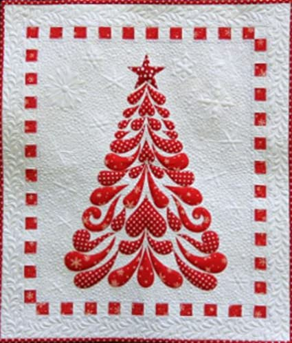 Cherry Blossoms Quilting Studio Feathered Christmas Tree Applique Wall Hanging Quilt Pattern