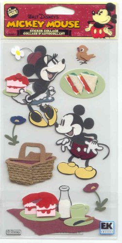 (Jolee's Boutique Disney Vintage Mickey Mouse & Minnie Mouse Picnic Stickers Embellishment, Sticker Collage,)