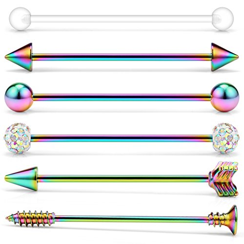 Ruifan 6PCS 14 Gauge Spike Ball Arrow Screw Crystal Clear Ball Industrial Barbell Cartilage Earring Body Piercing Jewelry 1 1/2Inch (38mm) - Rainbow ()