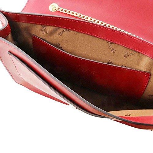 mujer Bolso Piel para Unique hombro TUSCANY Taille rojo LEATHER Rojo de al w0qX75a