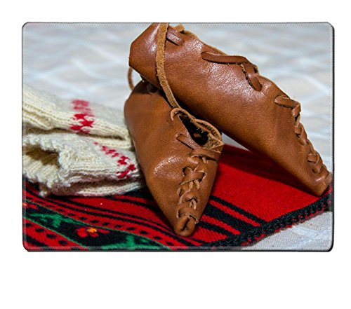 Liili Placemat Natural Rubber Material Romanian traditional costume with peasant s sandal (National Romanian Costume)