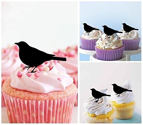 TA0349 Little Bird Silhouette Party Wedding Birthday Acrylic Cupcake Toppers Decor 10 pcs