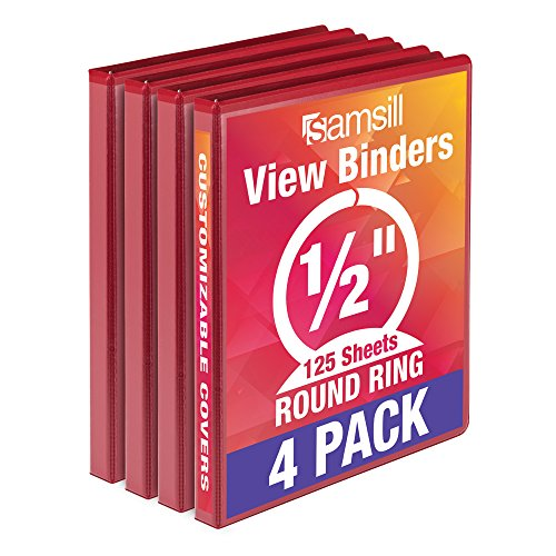 Samsill Economy 3 Ring View Binder, .5 Inch Round Ring - Holds 125 Sheets, PVC-Free / Non-Stick Customizable  Cover, Red, 4 - Ring Three 0.5 Binder
