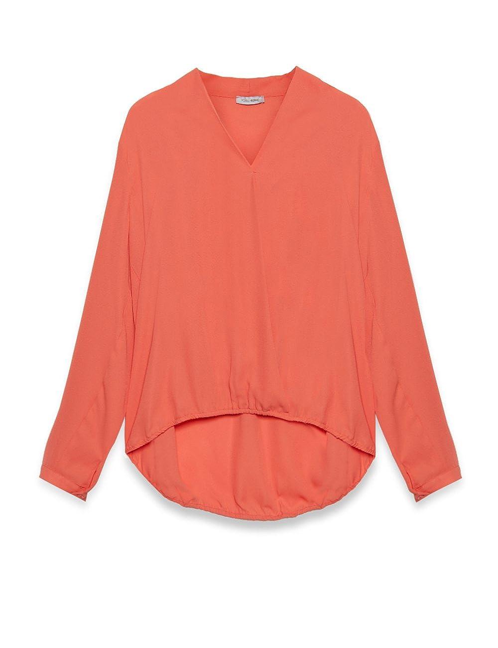 Fiorella Rubino: Blusa de mujer con manga larga de tejido vaporoso ligero . Plus size. Naranja sol, tamaño 49: Amazon.es: Ropa y accesorios