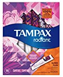 Tampax Radiant Super Plus Plastic Tampons, Unscented, 16 Count, Packaging May Vary
