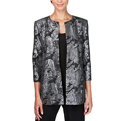 (Alex Evenings Women's Jacket and Scoop Tank Top Twinset (Petite and Regular Sizes), BlackandSilver, XL)