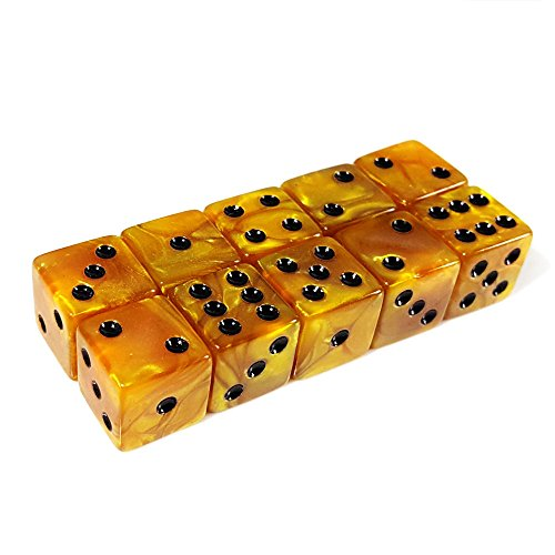 - 10pcs D6 16mm Six Sided Gaming Dice For Board Games, Activity, Casino Theme, Party Favors, Toy Gifts - Marbleized Gold with Black Pip