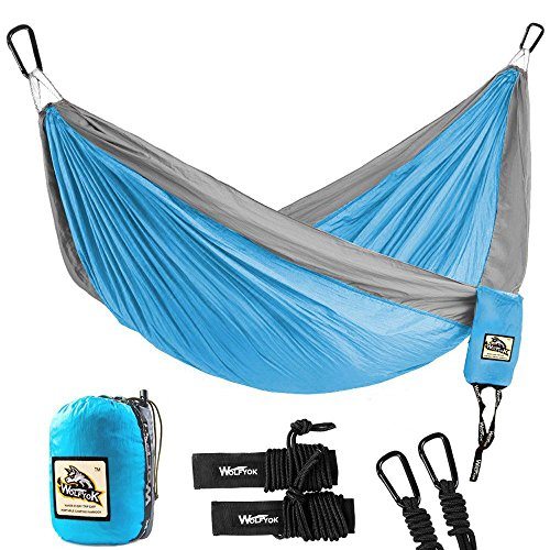 Portable Camping Single & Double Hammock – Wolfyok Lightweight Portable Nylon Hammock with Parachute Nylon Ropes and Solid Carabiners for Backpacking, Camping, Travel, Beach, Yard