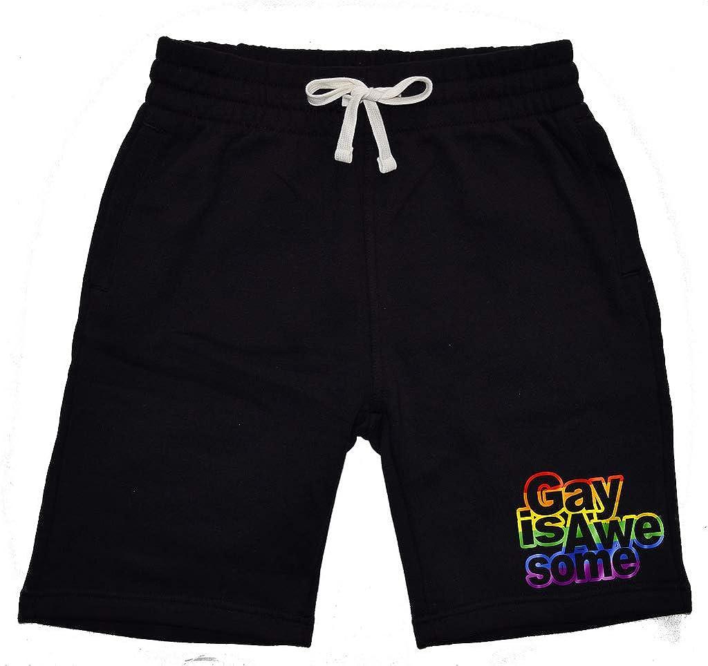 Mens Rainbow Gay is Awesome KT T10 Black Fleece Jogger Sweatpant Gym Shorts Medium Black