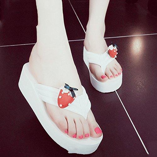 cuesta los deslizadores fresa la 3 la frescos con femenina Cómodo resbaladizas de Zapatos Zapatillas la de del Pique alto la de la de palabra de tacón verano Zapatillas o C simples manera playa colores wTqwHR
