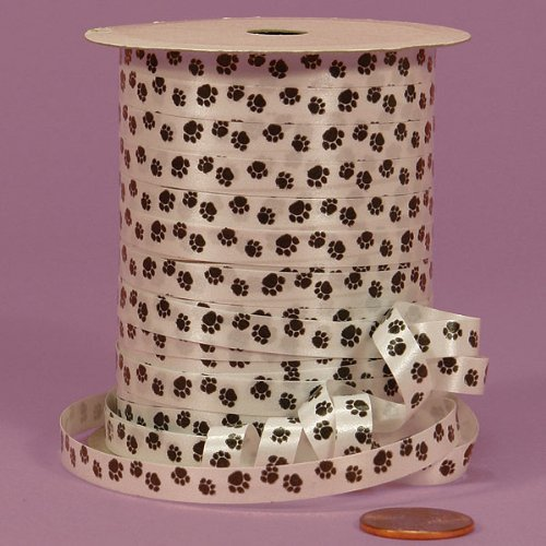 Tiny Dog Ribbon - Paw Print Curling Ribbon, 1/4