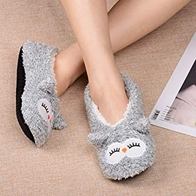 ALLBEST Womens Slipper Socks Low Cut Comfy&Warm Animal Non-skid Bedroom Slippers at Women's Clothing store