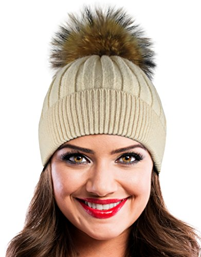Winter Hat Beanie Cap Knit Hats Set with Real Fur Pom Pom and Brush (Beige)