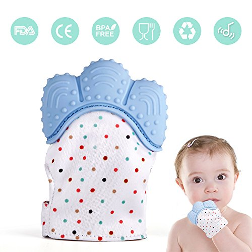 Baby Teething Mitten, Lintelek Baby Self-Soothing Pain Relief Hand Glove Teether, BPA FREE Safe Food Grade Silicon Sounding Baby Glove Teething Mitten Toy for 3-18 Months Baby, Sky Blue