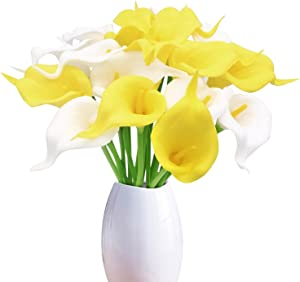 Artificial Flowers, 18pcs PU Calla Lily Fake Flowers Bridal Wedding Bouquet for Home Party Office Table Centerpiece Outdoor Garden Decoration(White,Yellow)