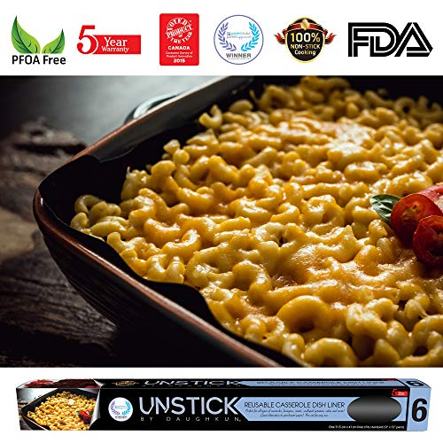UNSTICK Reusable Nonstick Casserole Dish Liner | 100% PFOA-Free Japanese Material | 5 Year Hassle-Free Warranty