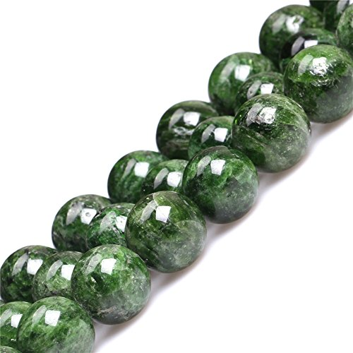 Diopside Pendant Set - JOE FOREMAN 14mm Green Diopside Semi Precious Stone Round AA Grade Loose Beads for Jewelry Making DIY Handmade Craft Supplies 15