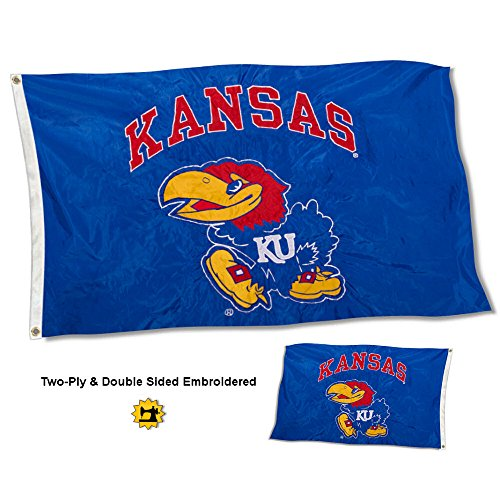 College Flags and Banners Co. Kansas Jayhawks Double Sided Nylon Embroidered Flag