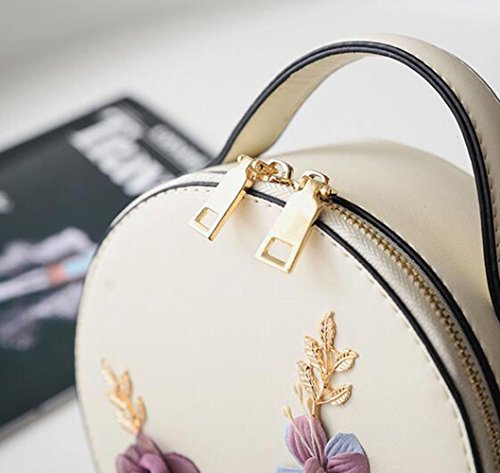 Bag Fashion Small Mini Bag Handbag Clutch Woman 2018 Handbag Flower Shoulder Messenger Beige Girl Round qF1vvwXS