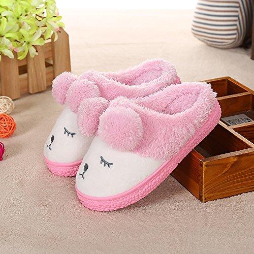 zealux cómodo–Zapatillas de casa de algodón y zapatillas de casa Zapatillas de ligera Rosado