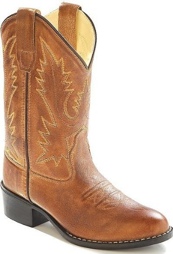 Old West Boys' Corona Calfskin Cowboy Boot Round Toe Tan 12 D(M) US (Cowboy Boots Round Tan)