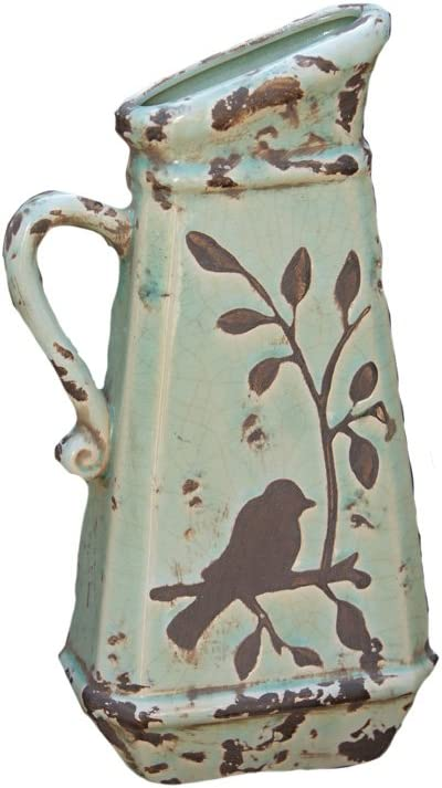 Your Heart's Delight Birds 'n Branches Pottery Pitcher, 6-1/4 by 13 by 3-Inch
