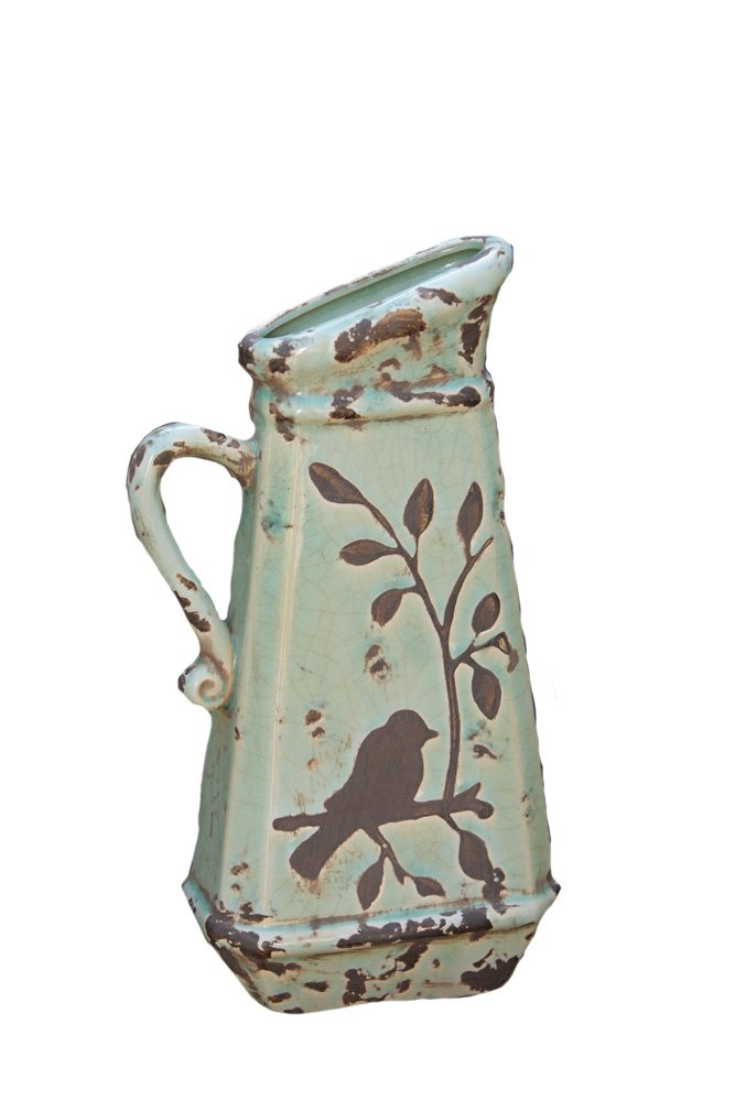Your Heart's Delight Birds 'n Branches Pottery Pitcher, 6-1/4 by 13 by 3-Inch by Your Heart's Delight