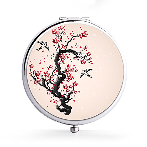 XIANN Mirror Makeup Mini Mirror Handhold Double Side Compact Travel Mirrors - Painted Cherry Tree ()