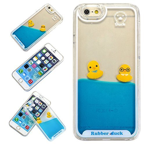 Yoption Liquid Case for iPhone 6 6s 4.7,Clear Cute Creative Design Liquid Floating Rubber Duck Hard Case Cover for iPhone 6 6s 4.7(Ducks With Glasses)
