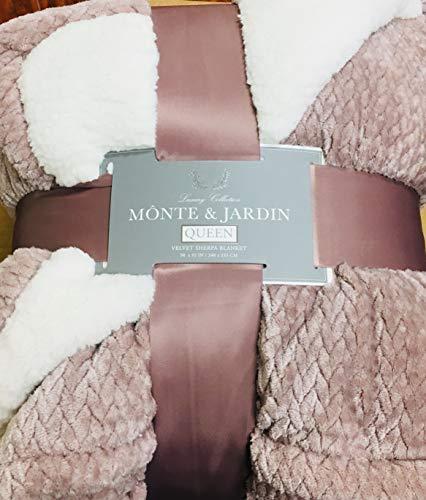 Monte Jardin Luxury Collection Velvet Sherpa Reversible Blanket, Queen,Taupe/Tea Rose Gold