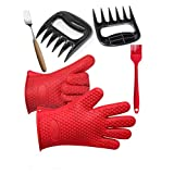 Silicone Kitchen Heat Proof BBQ Cooking Gloves Bear Claw Tools Basting Brush Barbecue Oven Mitts