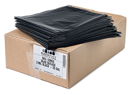 "Plasticplace Contractor Trash Bags 55-60 Gallon │ 3.0 Mil │ Black Heavy Duty Garbage Bag │ 38"" x 58"" (50 Count) by Plasticplace (Image #2)"