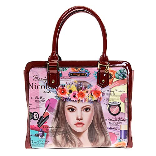 Floral Top Handle Brief Case Tote Bag with Spacious Compartment