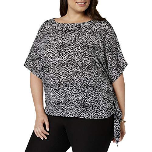 Michael Michael Kors Womens Plus Animal Print Short Sleeves Blouse B/W 3X Black/White