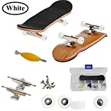 AumoToo Mini Fingerboard, Professional Finger Skateboard Maple Wood DIY Assembly Skate Boarding Toy Sports Games Kids (White)