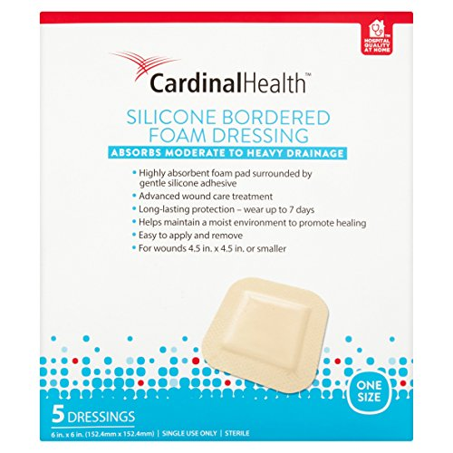 Cardinal Health BFM66RR Silicone Bordered Foam Bandage 6-inch x 6-inch (120), 120 Count Case Pack by Cardinal