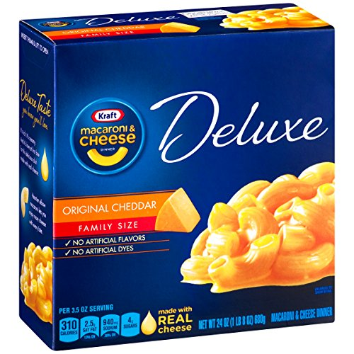 Price comparison product image Kraft Deluxe Macaroni and Cheese Dinner,  Original Cheddar,  24 Ounce Family Size Box (Pack of 3 Boxes)