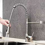 Commercial Pull out Kitchen Faucet,Single Handle Spring Stainless...