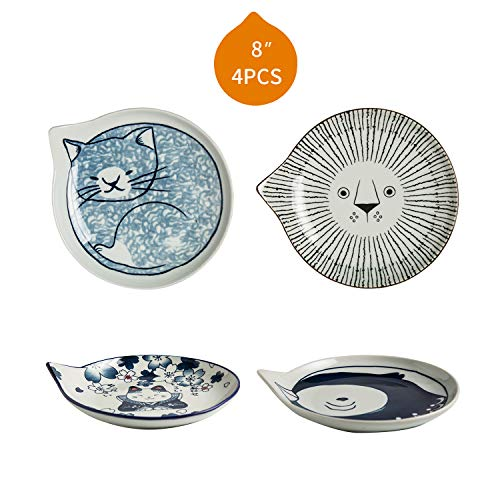 (Ceramic Dinner Plates, Tapas Plates, Dessert Plates, Cereal Plates, Hand Painted, Four Lovely Animal Patterns, Cats + Lion + Bird, FDA Testing Guarantee, Novelty Plates Sets, 8
