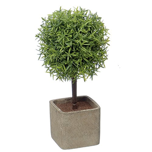 (WHW Whole House Worlds Realistic Faux Potted Grassy Ball Topiary Tree, Gray Stone Finished Planter, 10 1/4 Inches Tall)