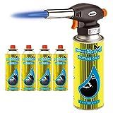 Bond Hardware Blow Torch Butane Flamethrower Weed Burner Welding Gas Auto Ignition Soldering (Torch + 4 Refills)