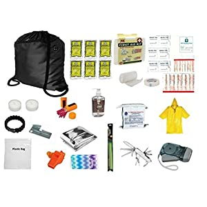 4 PERSON EMERGENCY SURVIVAL FOOD BARS WATER AND GEAR FOR BOAT DITCH BAG 5 YR