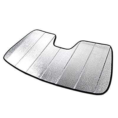 TuningPros SS-066 Custom Fit Car Windshield Sun Shade Protector, Sunshade Visor Silver & Grey 1-pc Set Compatible With 1996-2019 Chevrolet Express Van 1500-3500
