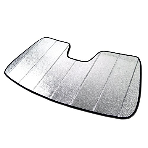 TuningPros SS-055 Custom Fit Car Windshield Sun Shade Protector, Sunshade Visor Silver & Grey 1-pc Set Compatible With 2010-2016 Cadillac SRX