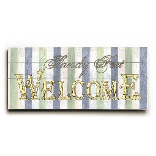 Sandy Feet Welcome by Artist Debbie Dewitt 10''x24'' Planked Wood Sign Wall Decor Art by ArteHouse